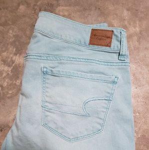American Eagle stretch skinny aqua jeans 8 x long